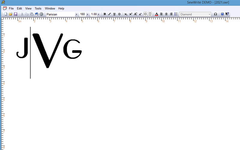 monogram complete after adjusting horizontal and vertical kerning in SewWrite