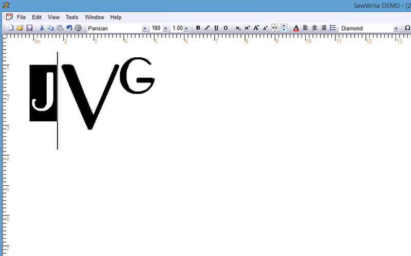 adjusting vertical and horizontal kerning in sewwrite
