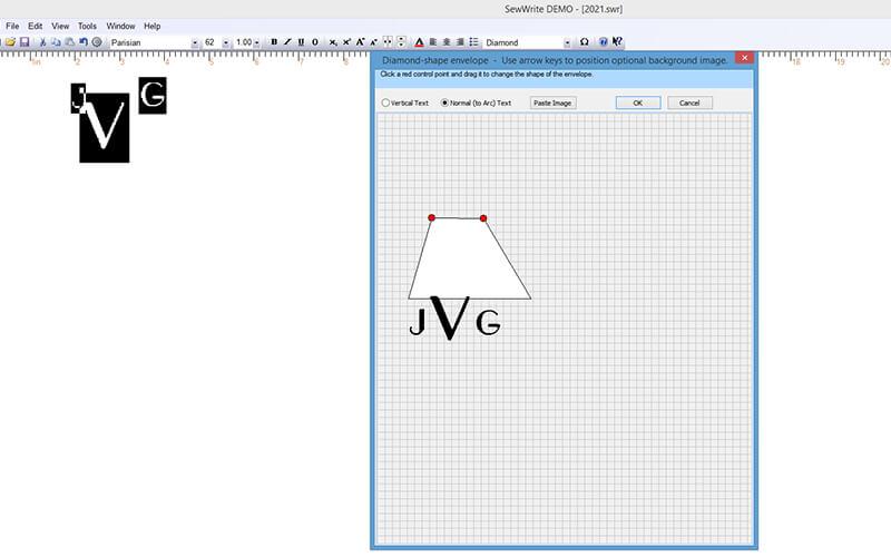 distorting a monogram shape in SewWrite