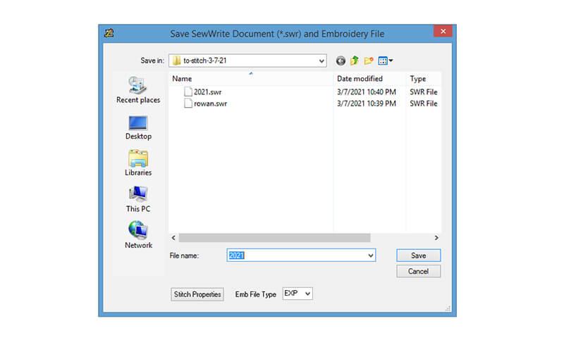 Saving a file in SewWrite