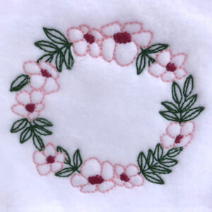 lovely spring floral wreath embroidery design