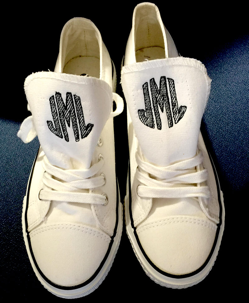 Things to embroider for summer: monogrammed sneakers: a fun think to embroidery for summer on your embroidery machine