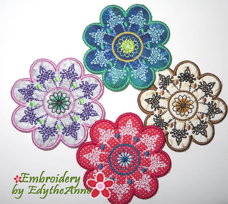 in the hoop floral coasters