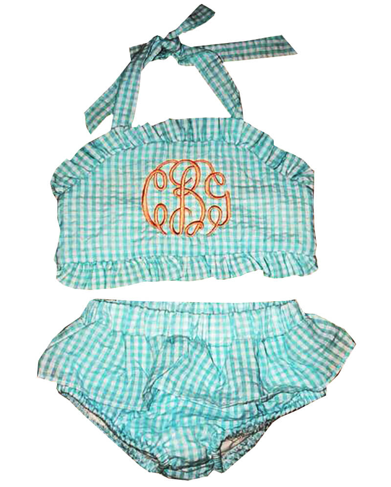 things to embroider for summer: monogrammed bikini for a little girl