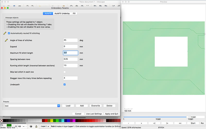 previewing embroidery design in inkstitch