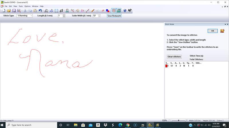converting handwriting to redwork in sewart