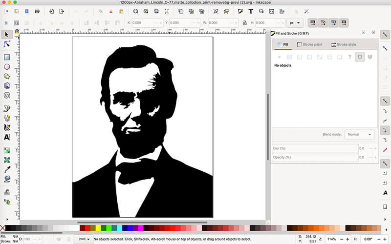 SVG image imported into Inkscape