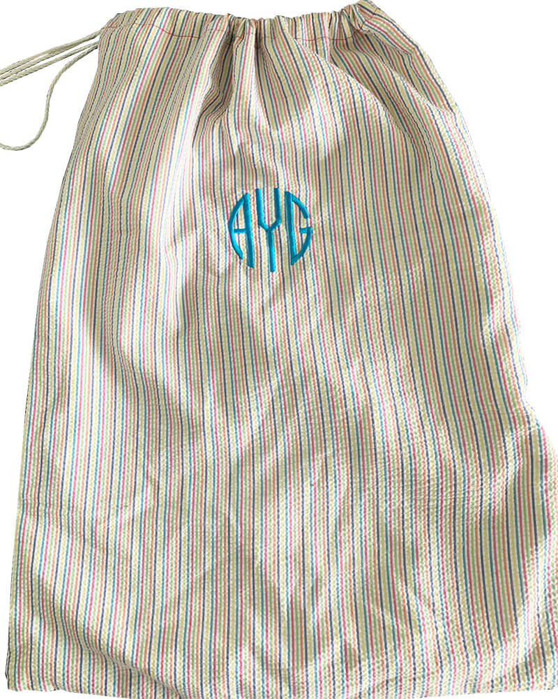 a personalized laundry bag is a great graduation gift you can make with your embroidery machine
