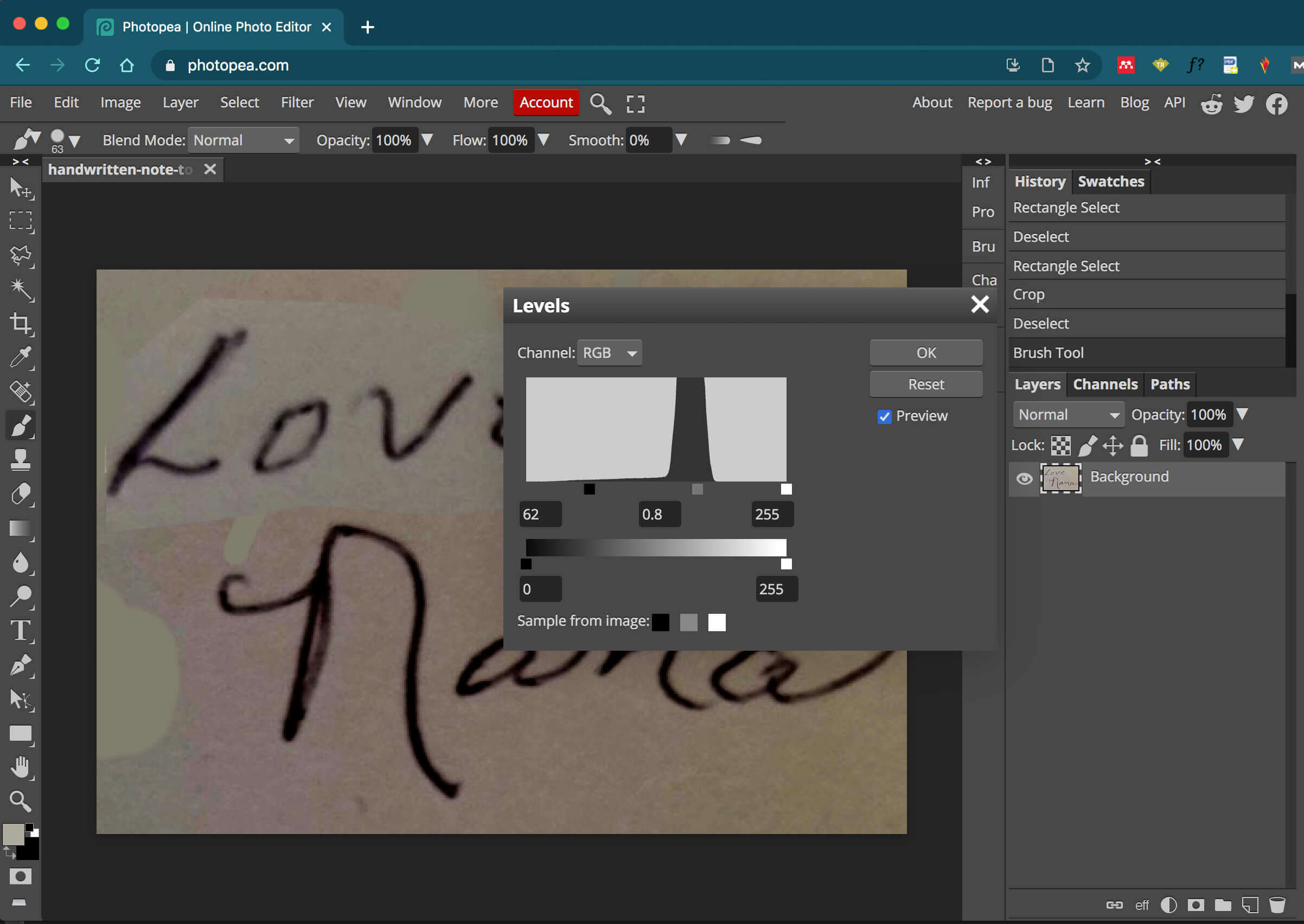 adjusting the levels of the handwriting image in Photopea