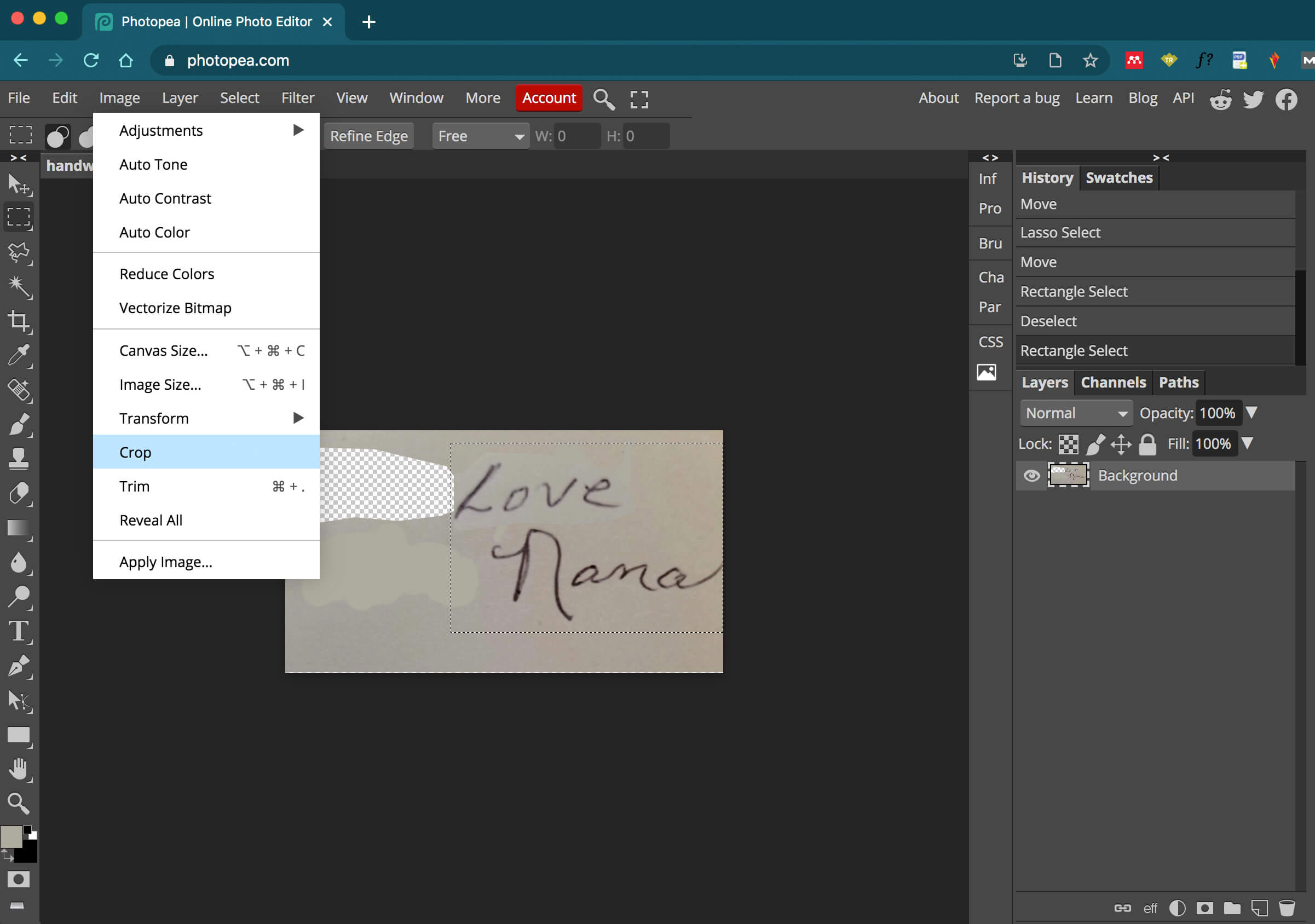 photopea - erase parts of handwriting image