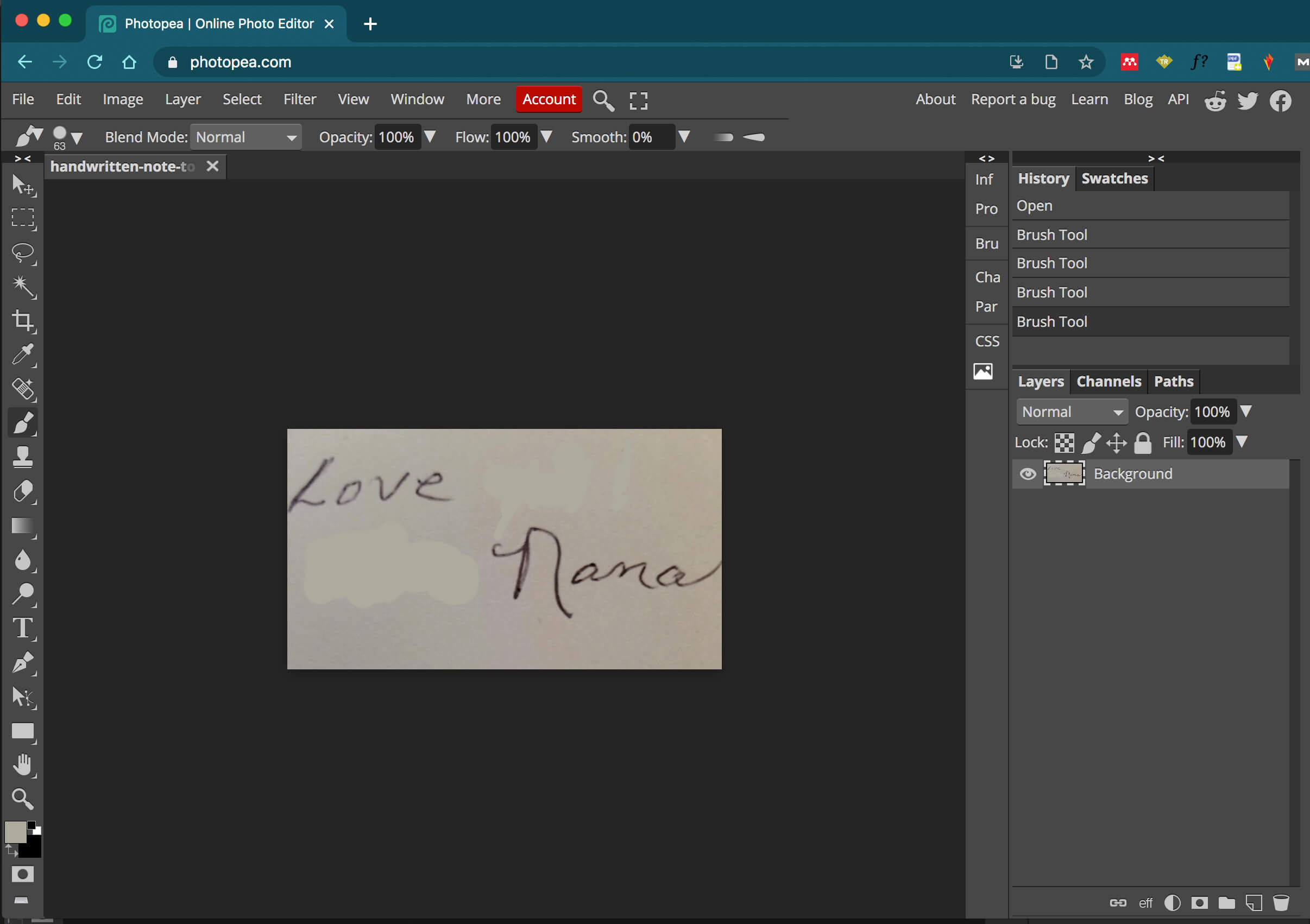 handwriting image with parts erased in Photopea