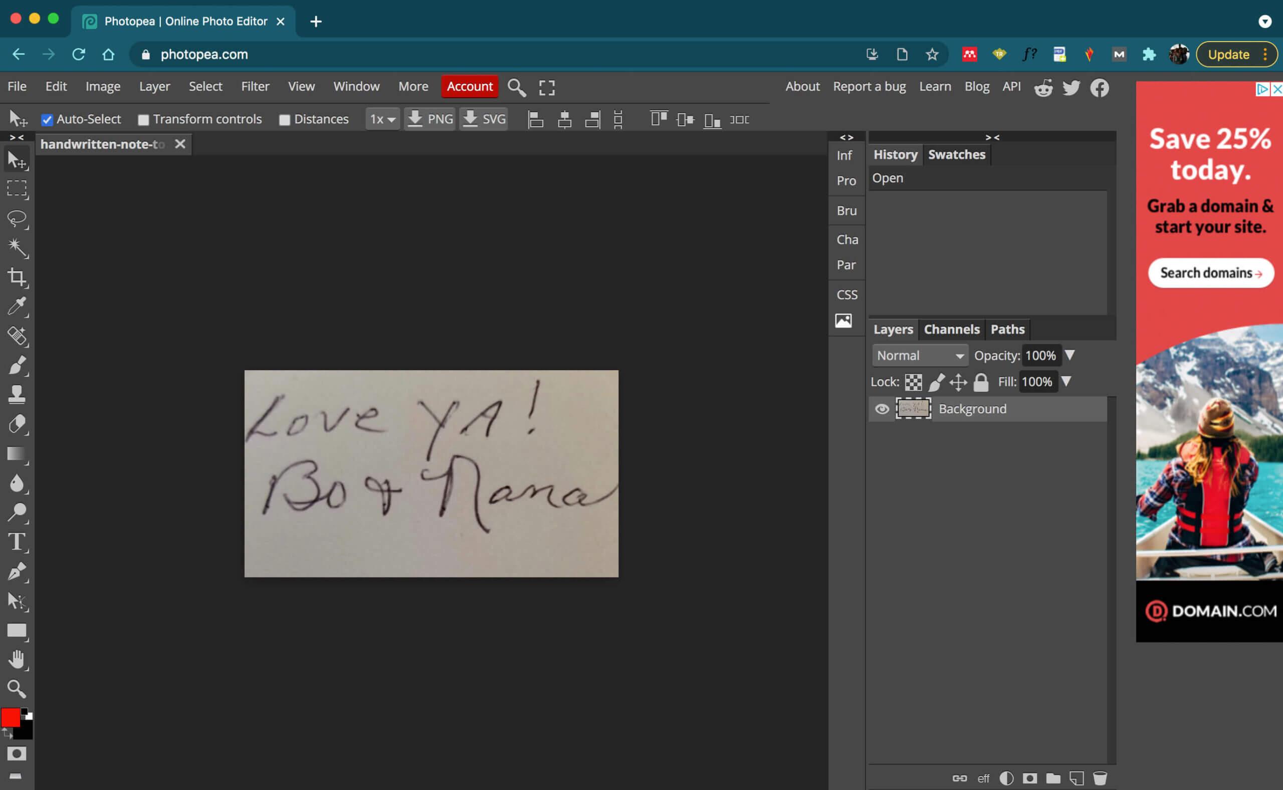 original handwriting image in Photopea