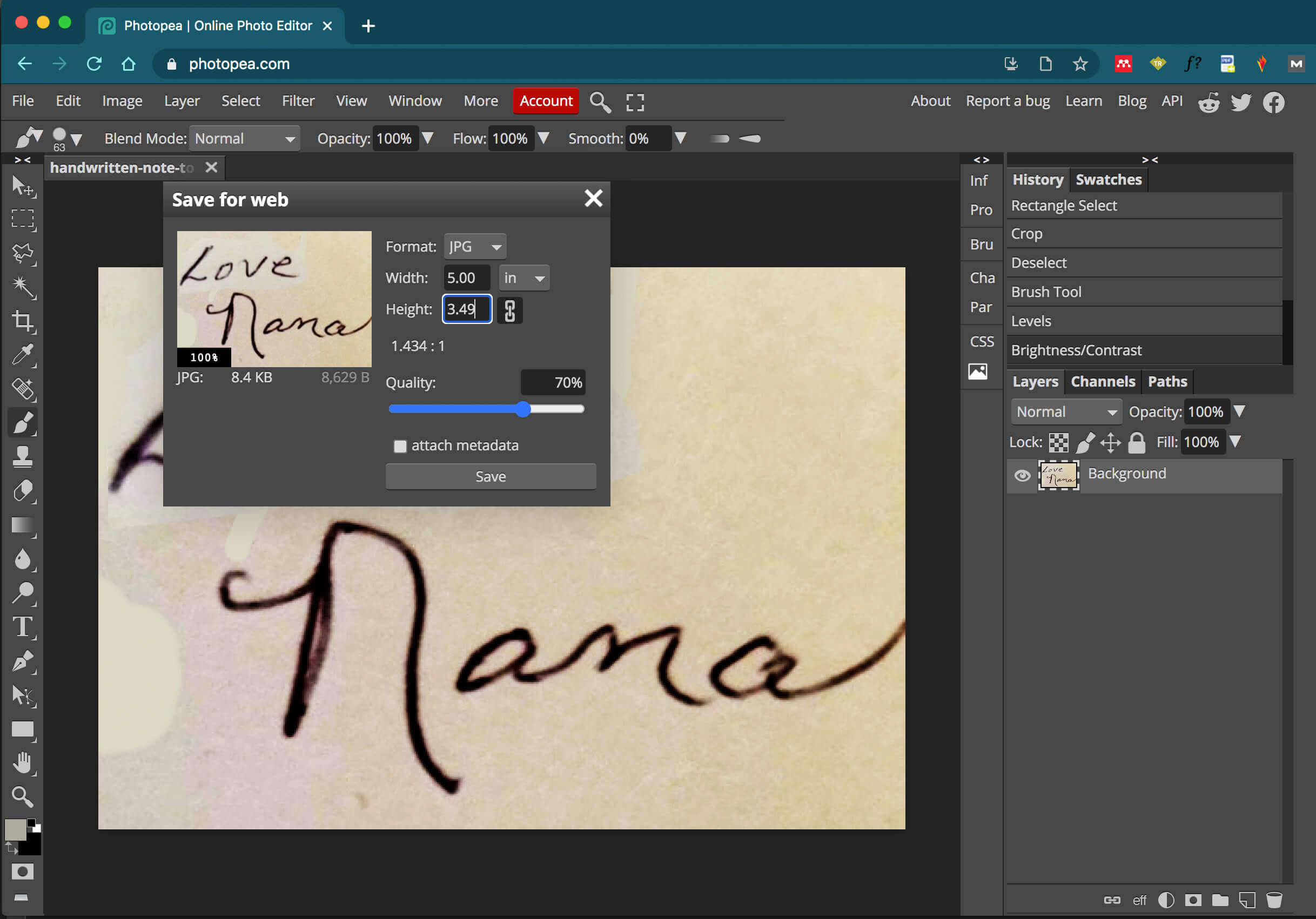exporting handwriting image as a jpeg from photo pea