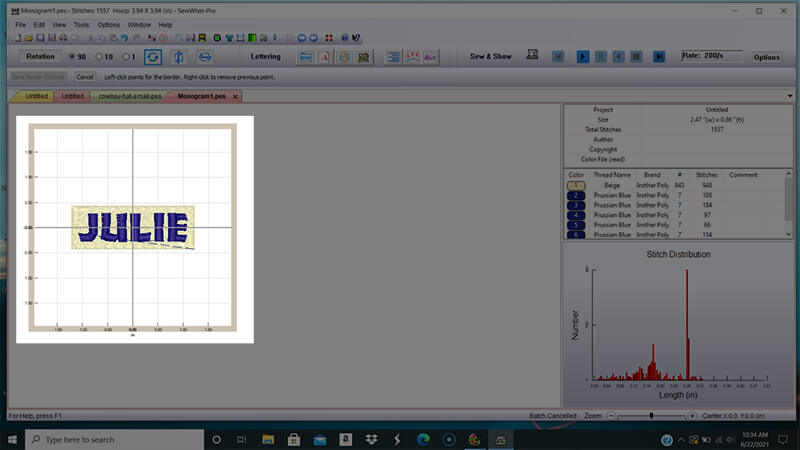 Adding a knock down stitch in SewWhat-Pro