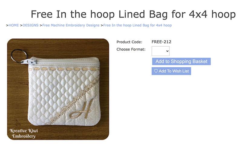 free in-the-hoop lined bag