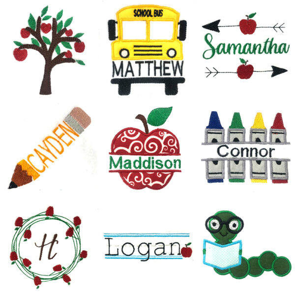 back to school embroidery and appliqué designs