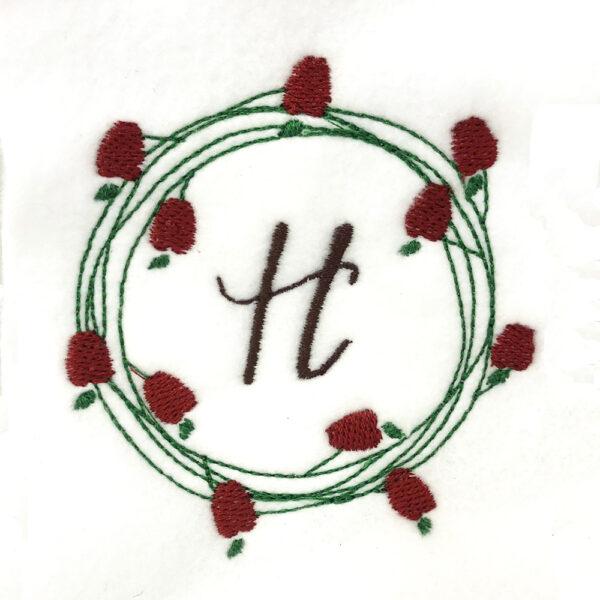apple wreath embroidery design