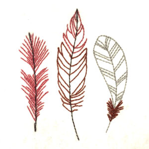 three feathers embroidery design