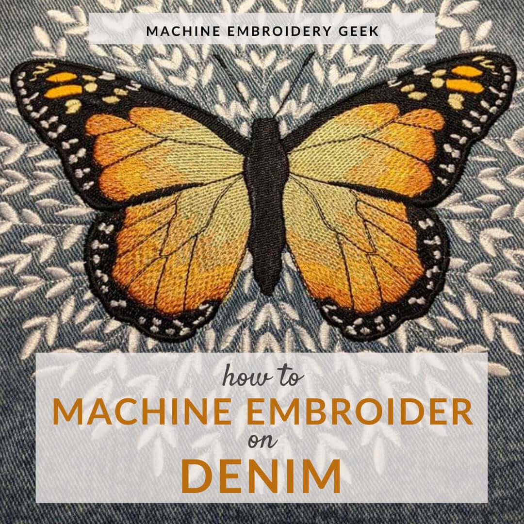 machine embroidery on denim