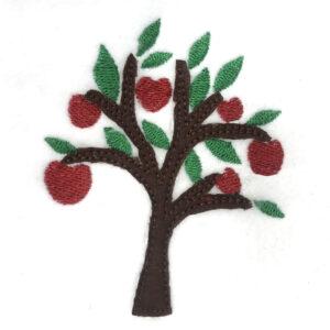 modern apple tree raw edge appliqué design