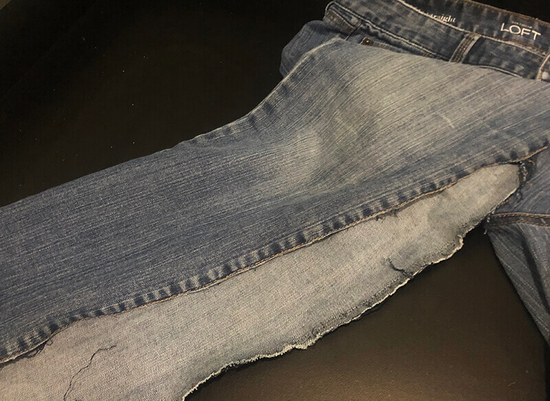 opening up inside seam on jeans