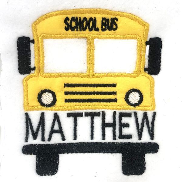 school bus appliqué to personalize