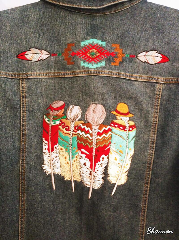 machine embroidery on denim jacket