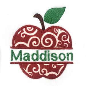 split apple appliqué design