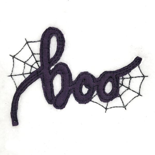 boo with spider web appliqué