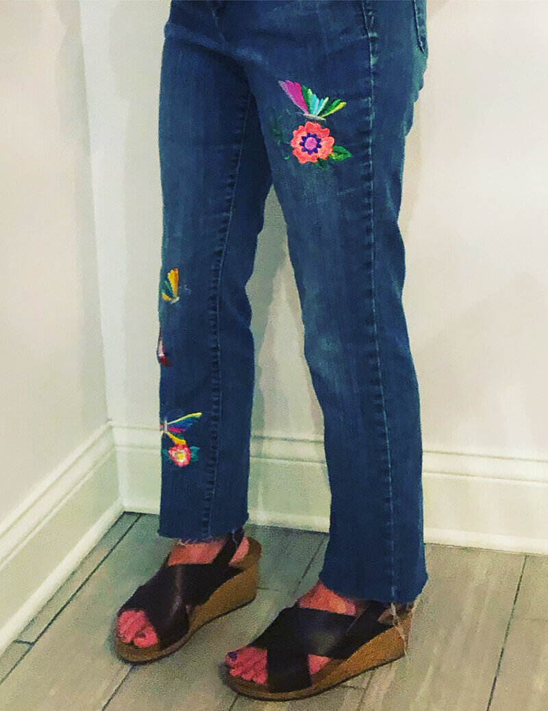 machine embroidered jeans