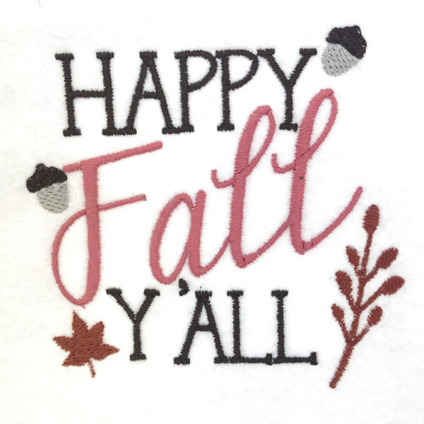 happy fall y'all embroidery design