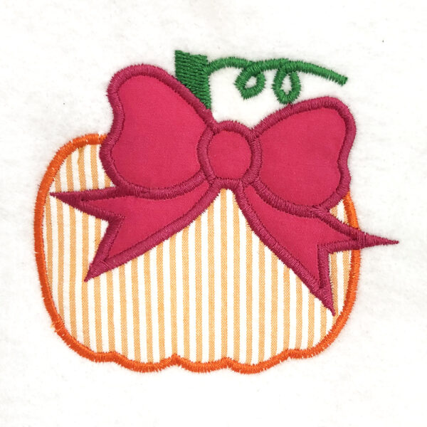 pumpkin with bow appliqué design