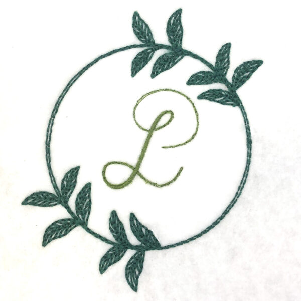 simple vine wreath embroidery design