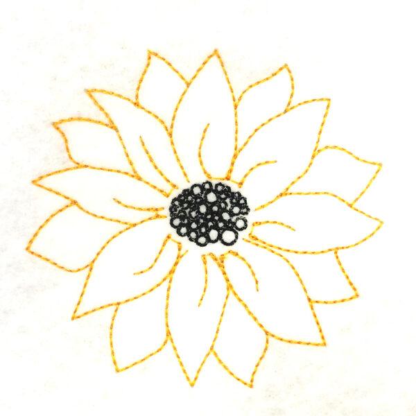 sunflower sketch machine embroidery design