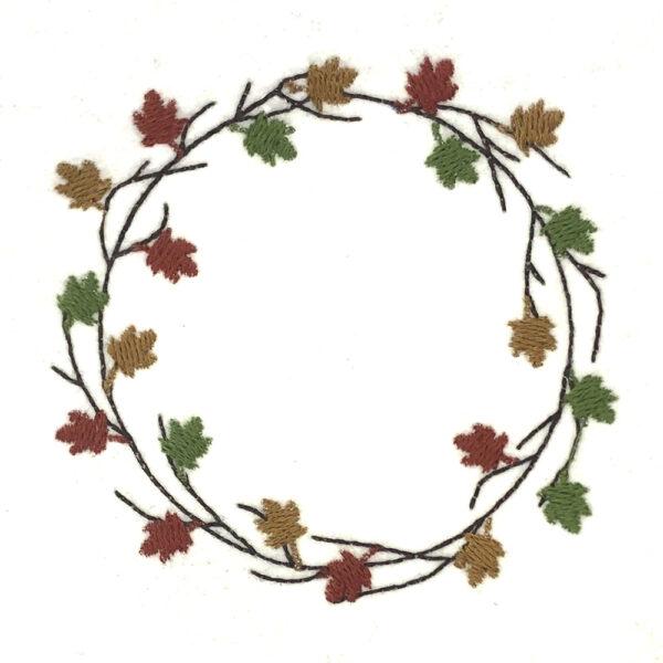twig and leaf wreath machine embroidery design