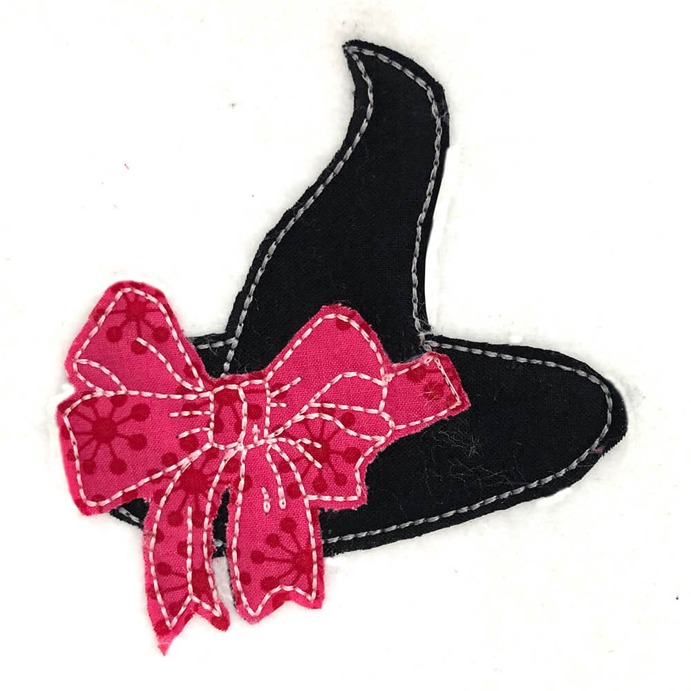witch hat with bow raw edge applique