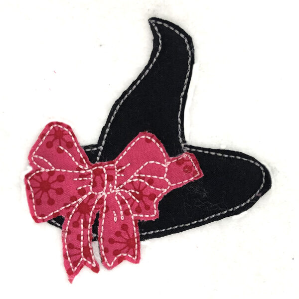 witch hat with bow raw edge appliqué design